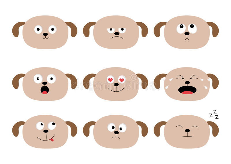 Cute dog head set. Funny cartoon characters. Emotion collection. Happy, surprised, crying, sad, angry puppy. White background. Iso royalty free illustration