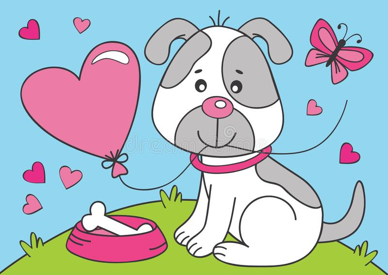 Cute dog with heart balloon. Vector illustration, eps vector illustration