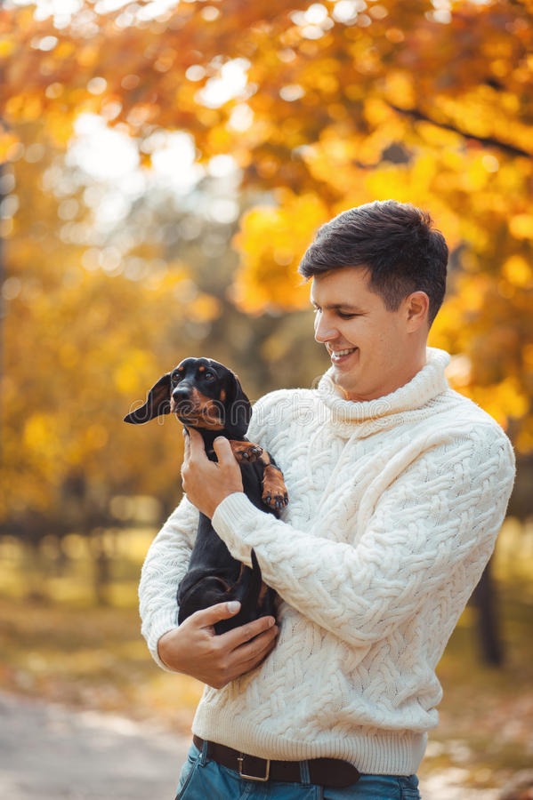 Cute dog and his owner have fun in the park royalty free stock images