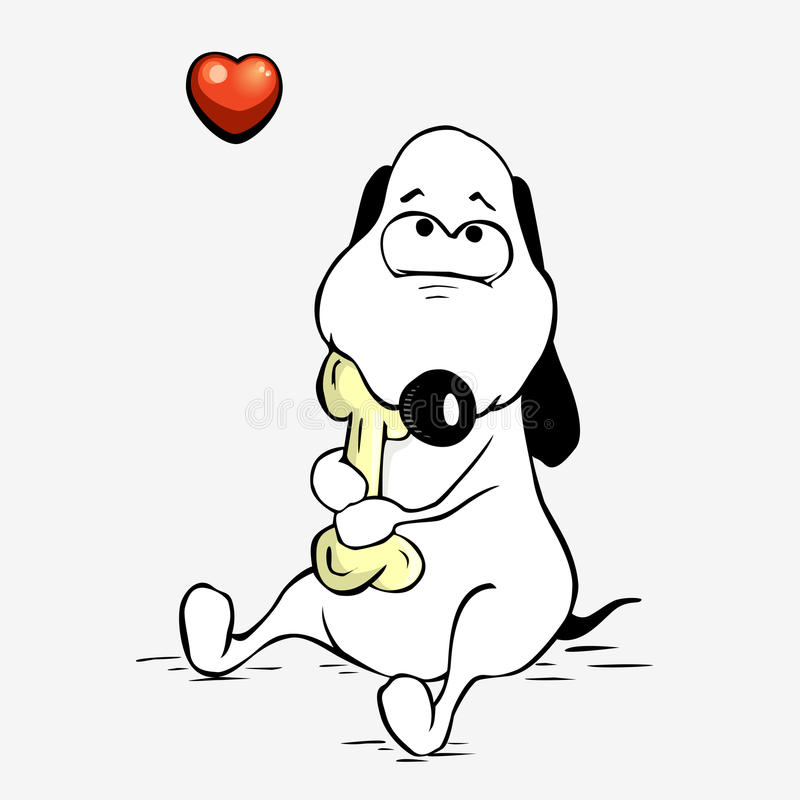 Download Cute dog hugs a bone stock vector. Image of funny, tenderness - 19701177