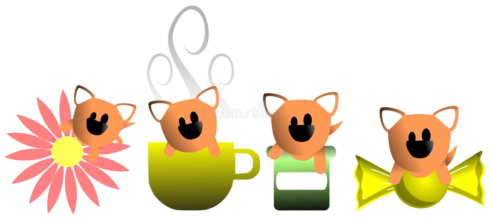 Stylized Cute dog with different objects isolated royalty free illustration