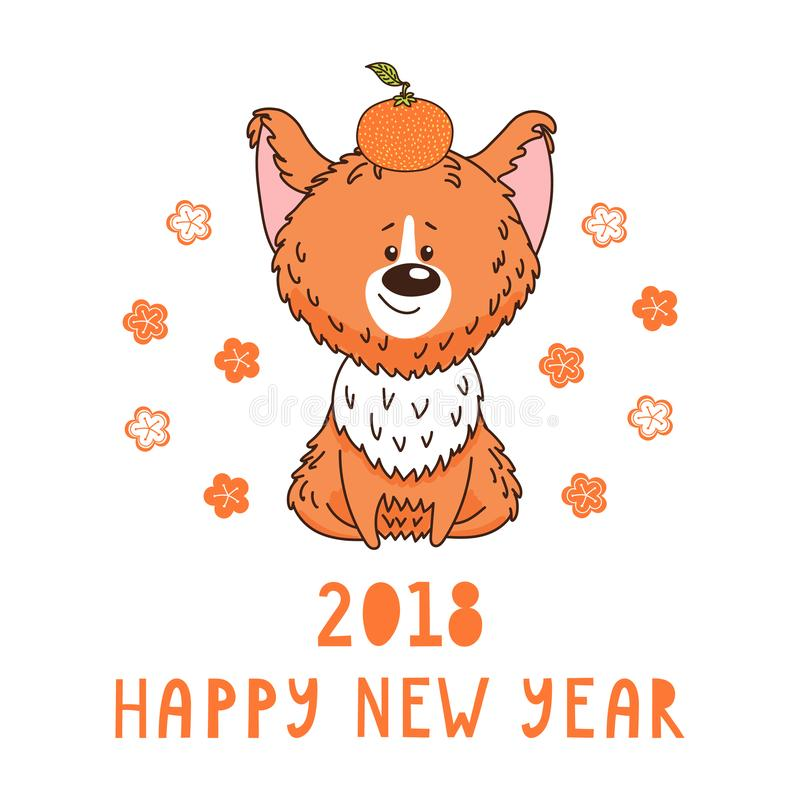 Cute dog new year greeting card stock vector illustration 104979545 hand drawn new year greeting card with cute funny cartoon dog with a tangerine typography isolated objects on white background vector illustration m4hsunfo