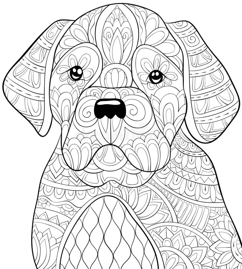 Adult coloring book,page a cute dog image for relaxing.Zen art s. A cute dog with ornaments image for adults.Zen art style illustration for relaxing activity.A royalty free illustration