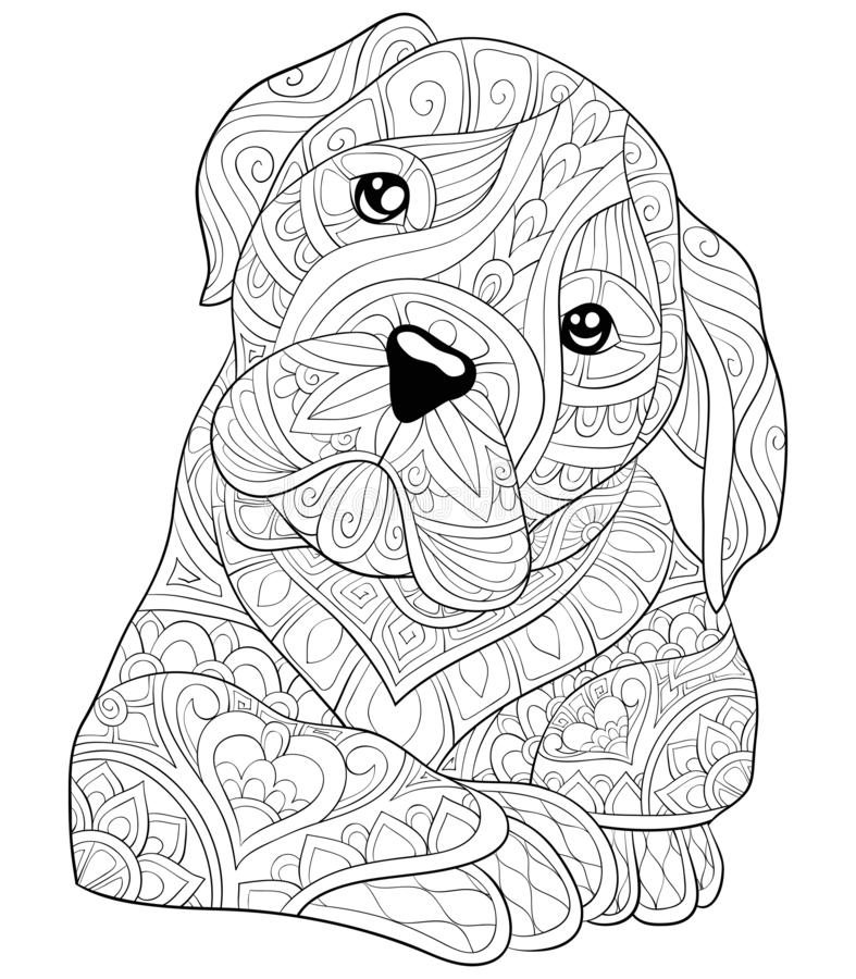 Adult coloring book,page a cute dog image for relaxing.Zen art s. A cute dog with ornaments image for adults.Zen art style illustration for relaxing activity.A vector illustration