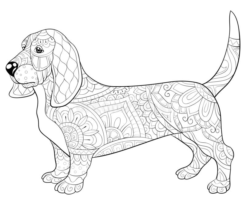 Adult coloring book,page a cute dog with ornaments image for relaxing.Zen art style illustration. A cute dog with ornaments image for relaxing activity.Coloring stock illustration