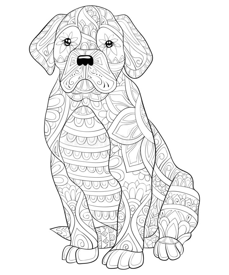Adult coloring book,page a cute dog with ornaments image for relaxing.Zen art style illustration. A cute dog with ornaments image for relaxing activity.A vector illustration