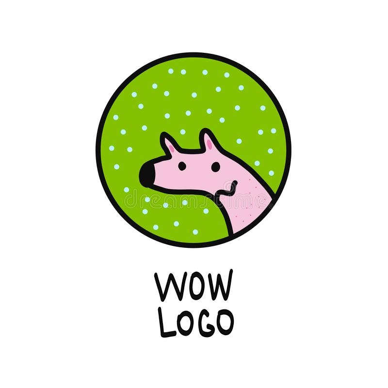 Cute dog pink and green logo for pet design and poster vector illustration