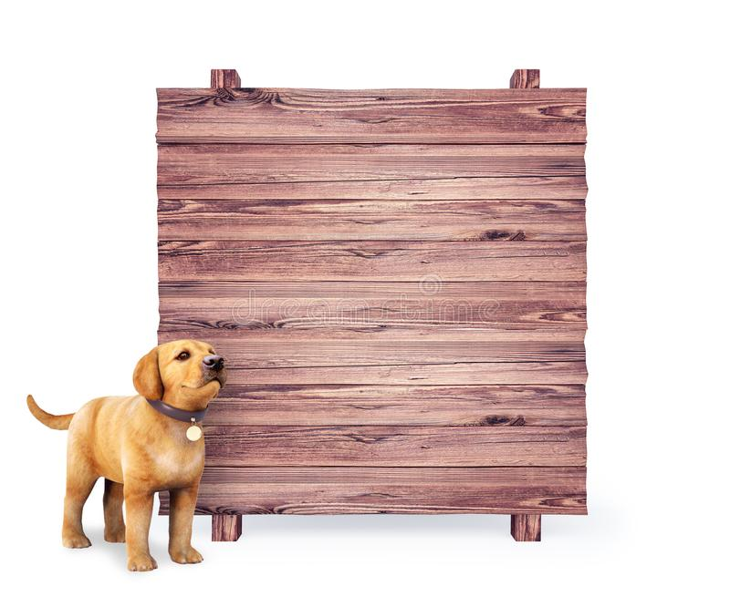 Cute dog puppy with empty wooden board on white background royalty free illustration