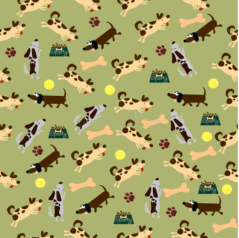 Cute dog or puppy. High quality original trendy vector seamless pattern with cute dog or puppy. Dog best friend royalty free illustration