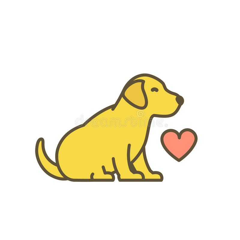 Cute dog puppy with red heart. Loved animal pets. Young Labrador retriever. I love dogs. Yellow pup with contour line. Flat vector illustration royalty free illustration