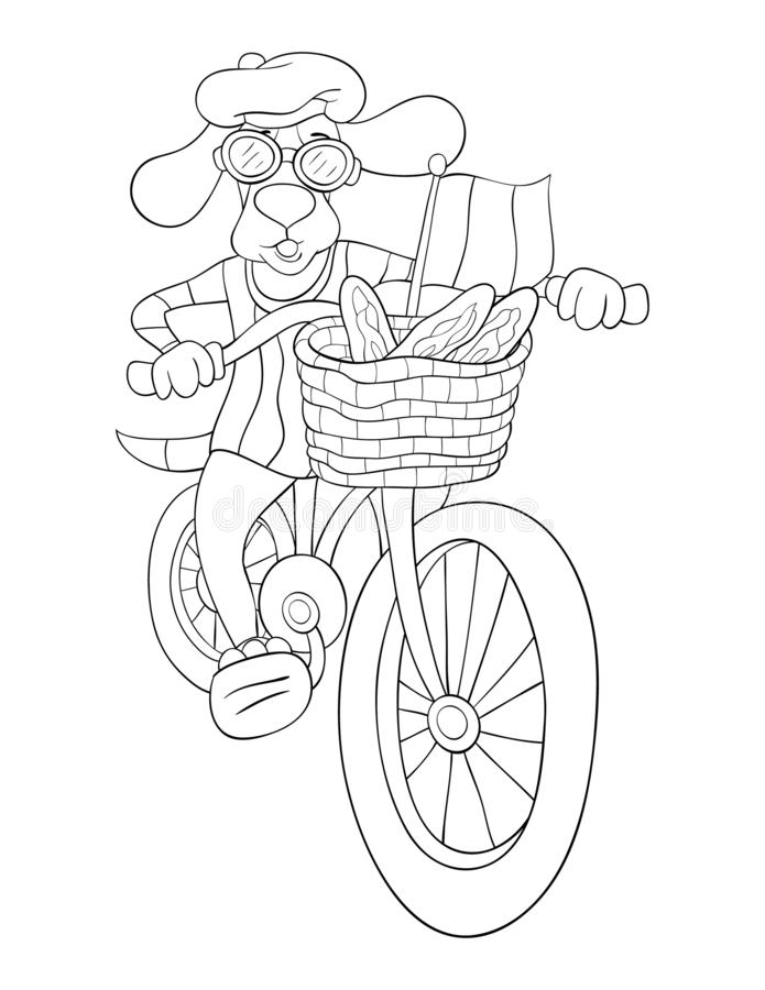 Adult coloring page,book a cute dog riding a bike image for relaxing activity. A cute dog is riding a bike image for adults,an zen tangle ornaments illutration vector illustration