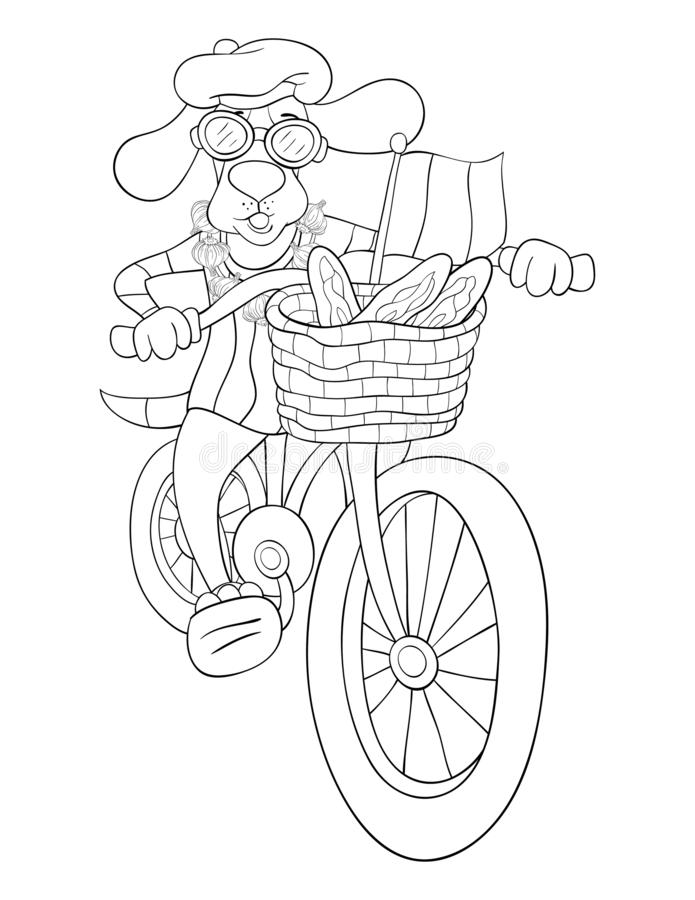 Adult coloring page,book a cute dog riding a bike image for relaxing activity. A cute dog is riding a bike image for adults,an zen tangle ornaments illutration royalty free illustration