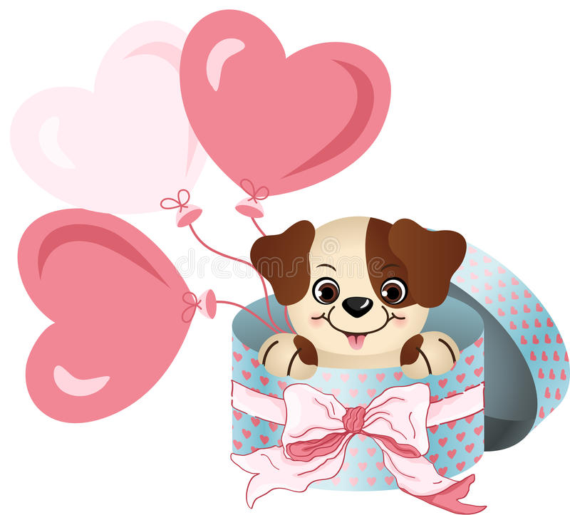 Cute dog in round gift box with bow ribbon and balloons. Scalable vectorial image representing a cute dog in round gift box with bow ribbon and balloons royalty free illustration
