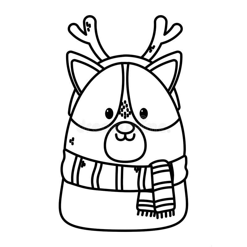Cute dog scarf och horns firar en glad julklapp vektor illustrationer