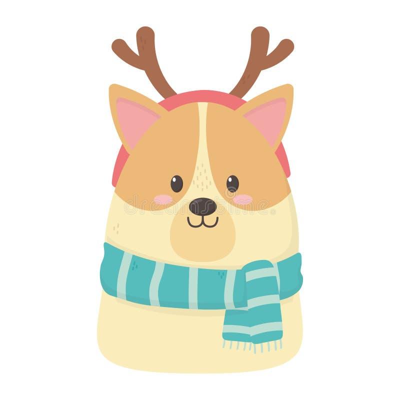 Cute dog scarf och horns firar glada julklappar vektor illustrationer