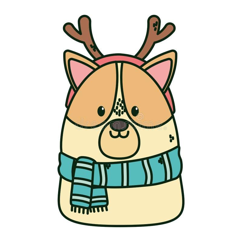 Cute dog scarf och horns firar glada julklappar royaltyfri illustrationer