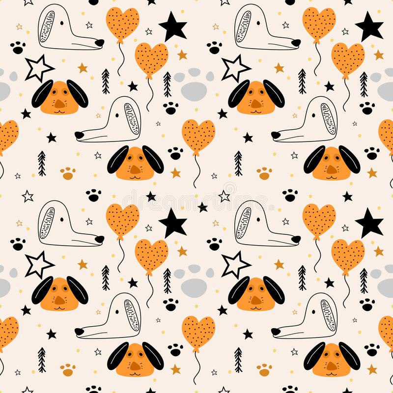 Cute dog seamless pattern drawing animal illustration. Trendy scandinavian art cartoon background. Vector, design, decoration, abstract, graphic, character royalty free illustration