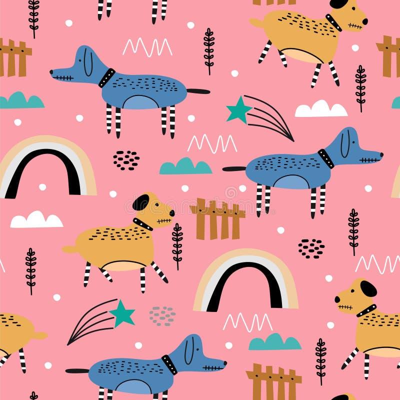 Cute dog seamless pattern drawing animal illustration. Trendy scandinavian art cartoon background. Vector, design, decoration, abstract, graphic, character stock illustration