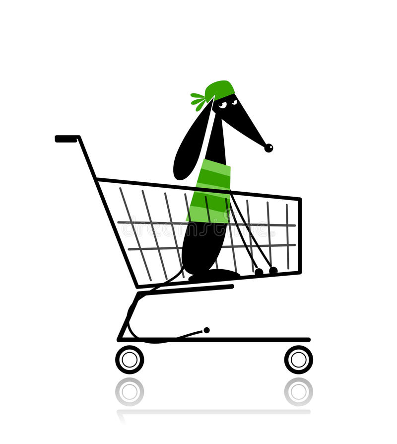 Cute dog in shopping cart for your design royalty free illustration