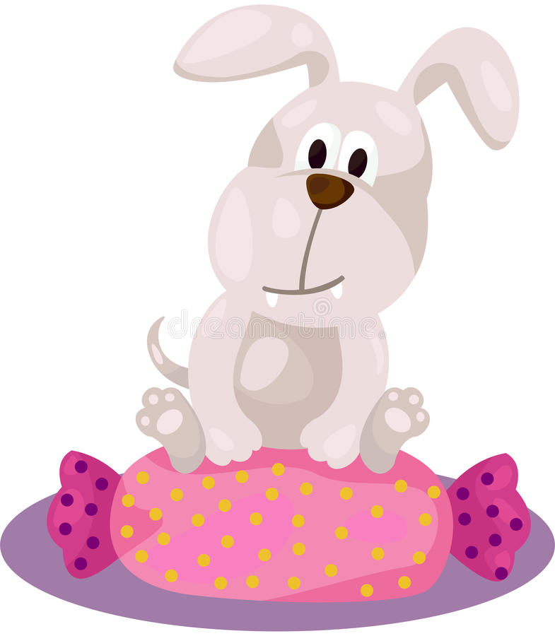 Download Cute Dog Sitting On Candy Pillow Stock Vector - Image: 28149333