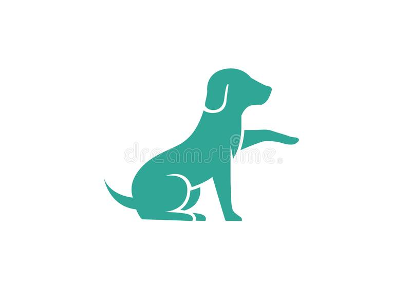 Cute dog sitting and Shaking hand logo. Cute dog sitting and Shaking hand for logo design illustration royalty free illustration