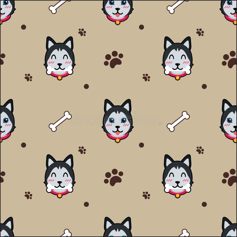 Cute dog seamless pattern vector background. Cute dog smile puppy husky eat bone seamless pattern vector background vector illustration