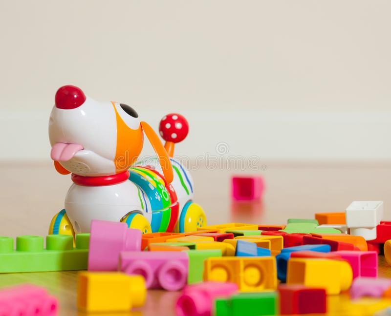 Cute dog toy between rubber toy blocks royalty free stock images