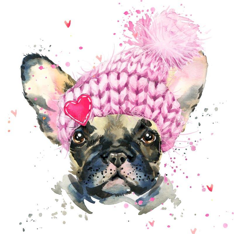 Cute dog. Watercolor puppy dog illustration. royalty free illustration