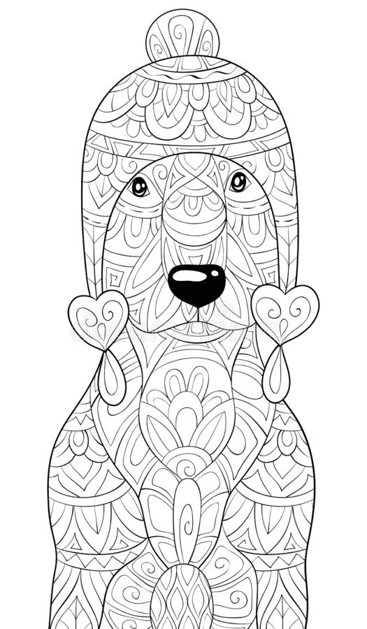 Adult coloring book,page a cute dog wearing a Christmas cap with ornaments image for relaxing.Zen art style illustration. A cute dog wearing a Christmas cap with royalty free illustration