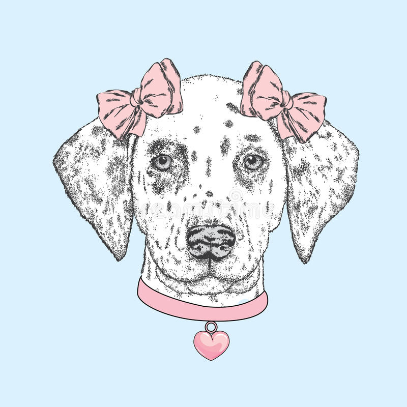 Cute dog wearing a collar with a heart and two bows. Beautiful dalmatian painted by hand. Vector illustration for a card or poster vector illustration