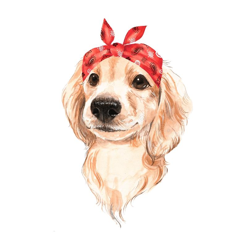 Cute dog wearing red bandana royalty free illustration
