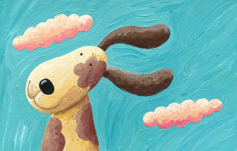 Cute dog in the wind stock illustration