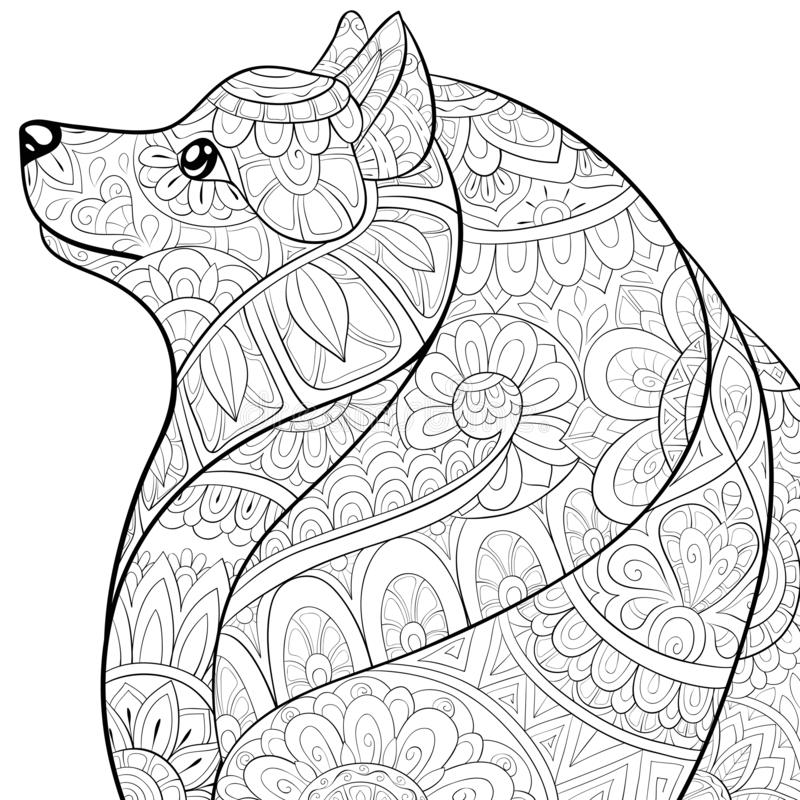 Adult coloring book,page a cute dog image for relaxing activity.Zen art style illustration for print. A cute dog with zen ornaments on the abstract floral royalty free illustration