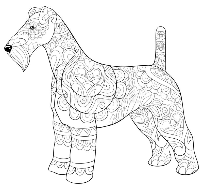 Adult coloring book,page a cute dog image for relaxing activity.Zen art style illustration for print. A cute dog with zen ornaments image,zen art style royalty free illustration