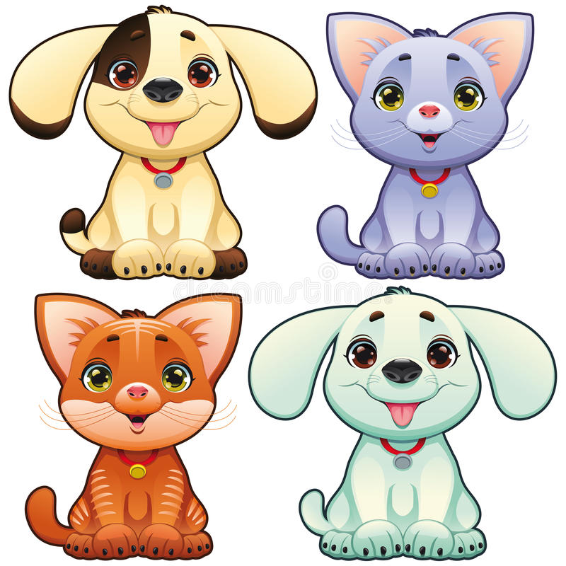 Cute dogs and cats. Funny cartoon and animal characters, isolated objects