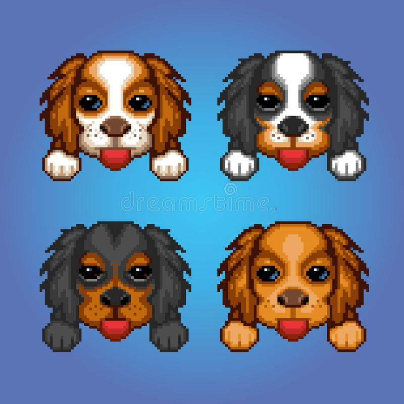 Cute dogs cavalier king charles spaniel heads pixel art illustration royalty free stock photos