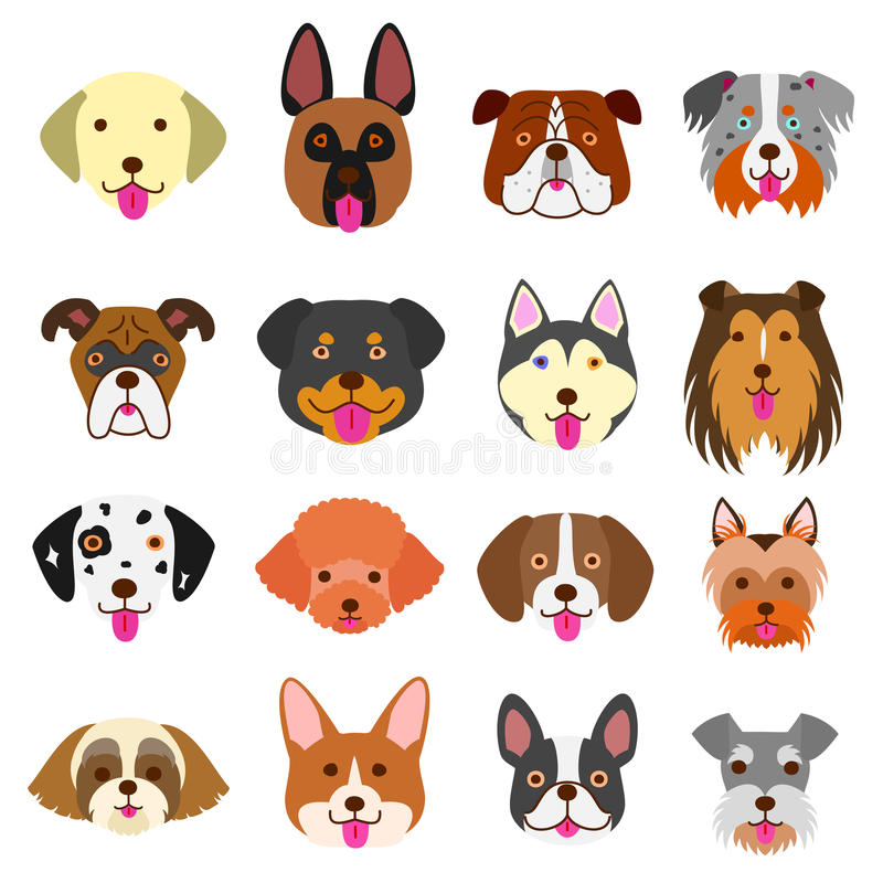Cute dogs faces art set royalty free stock photo