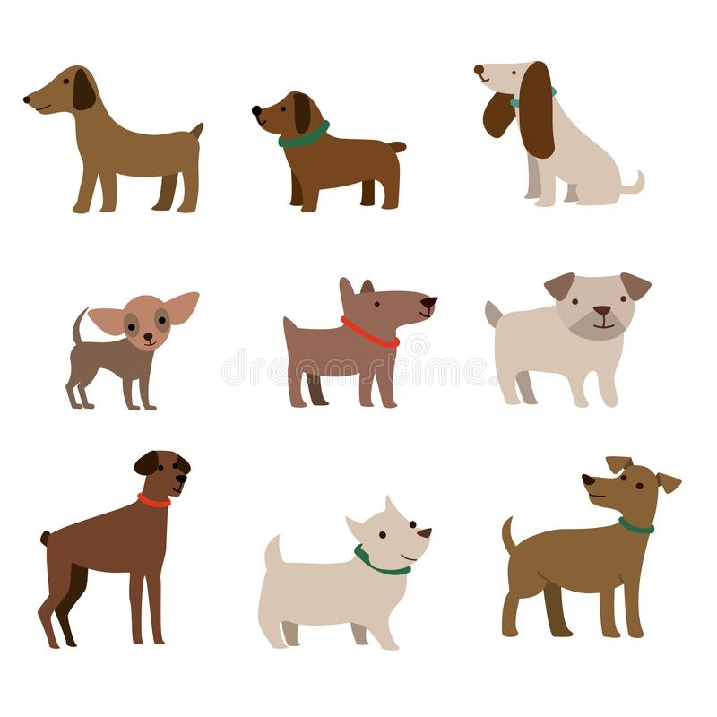 Cute dogs illustration coloured vector design. Vector illustration of funny cartoon different breeds dogs in trendy flat style stock illustration