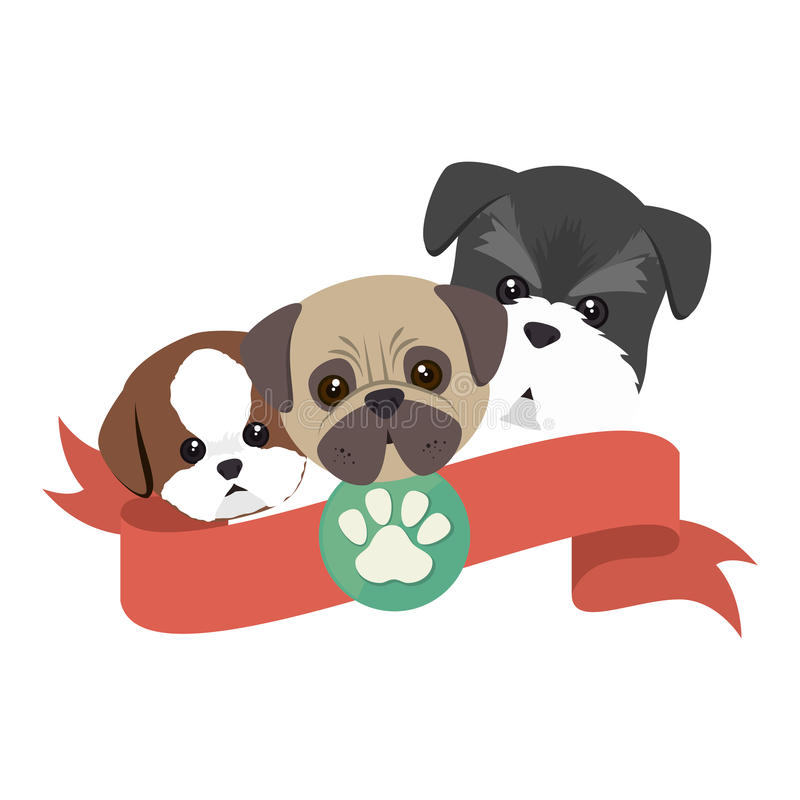 cute dogs isolated icon stock illustration