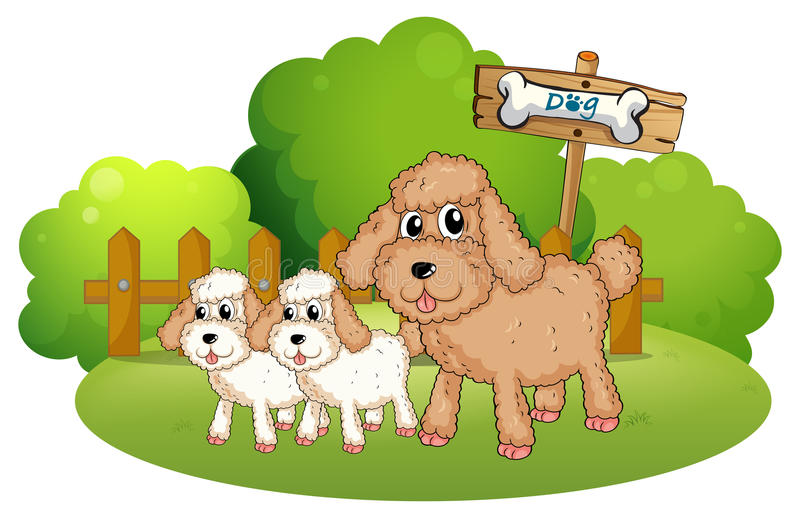 Cute dogs near the signboard. Illustration of the cute dogs near the signboard on a white background stock illustration