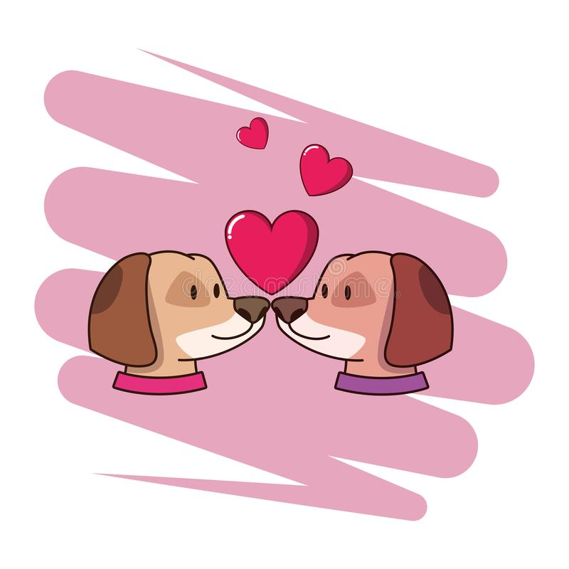 Cute dogs pets in love with hearts vector illustration