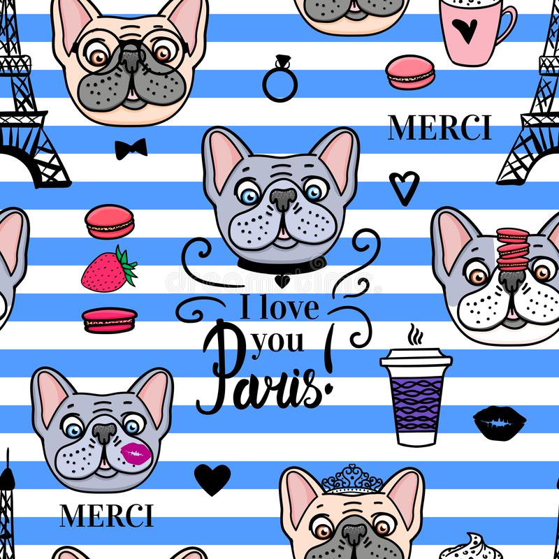 Cute dogs seamless pattern. Striped background. Vector hand drawn. Lettering inscription Paris i love you. vector illustration