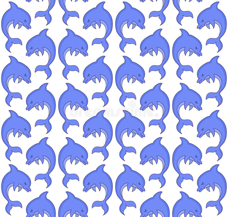 Cute dolphin fish marine seamless vector pattern royalty free illustration