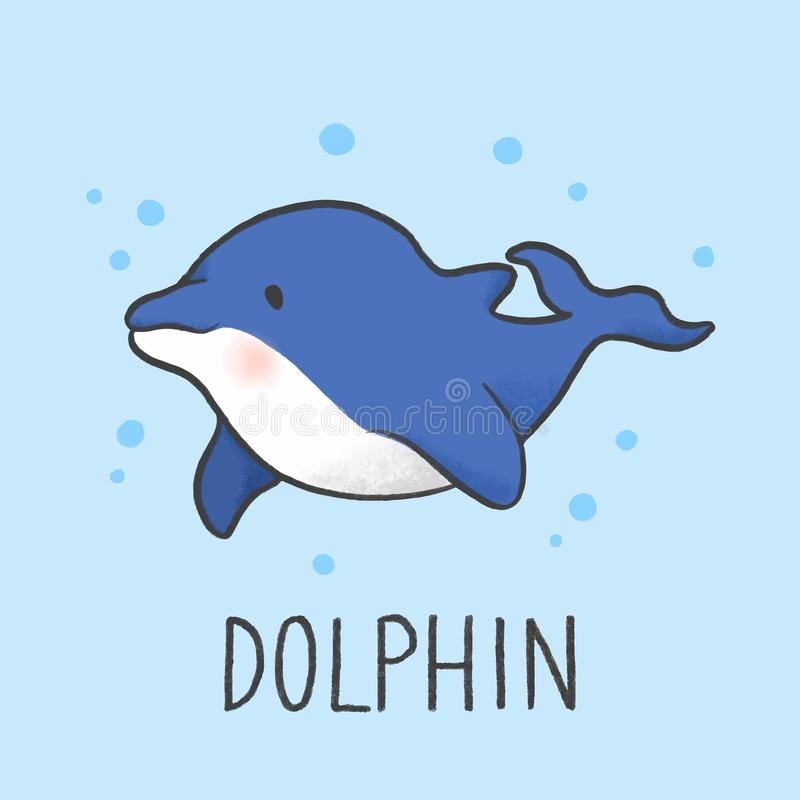 Cute Dolphin cartoon hand drawn style royalty free illustration