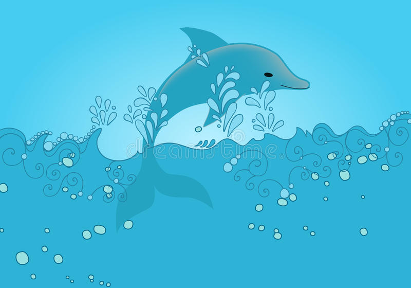 Cute dolphin jumping out of the ocean vector illustration