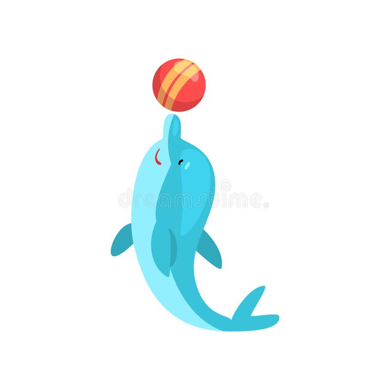 Cute Dolphin Playing with Ball, Cartoon Sea Animal Character Vector Illustration vector illustration