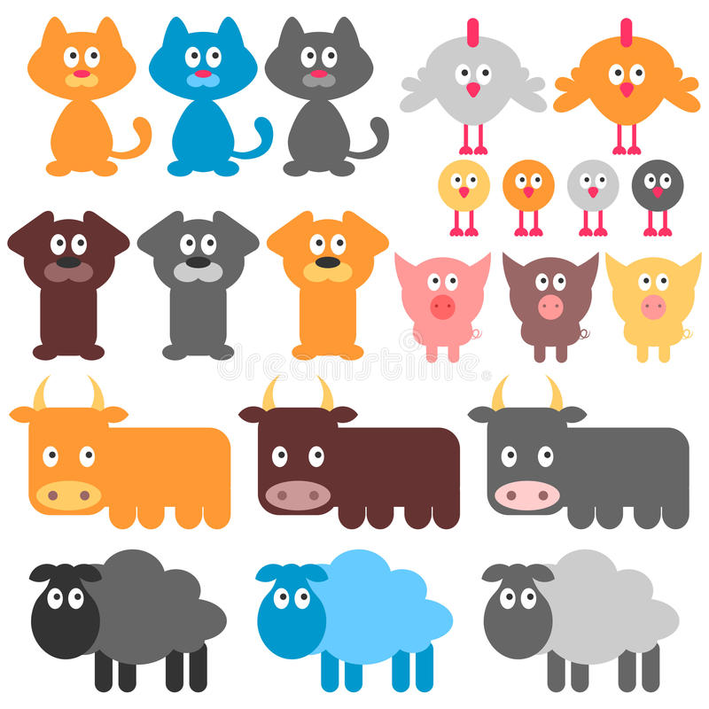 Download Cute domestic animals stock vector. Image of puppy, chicken - 26961410