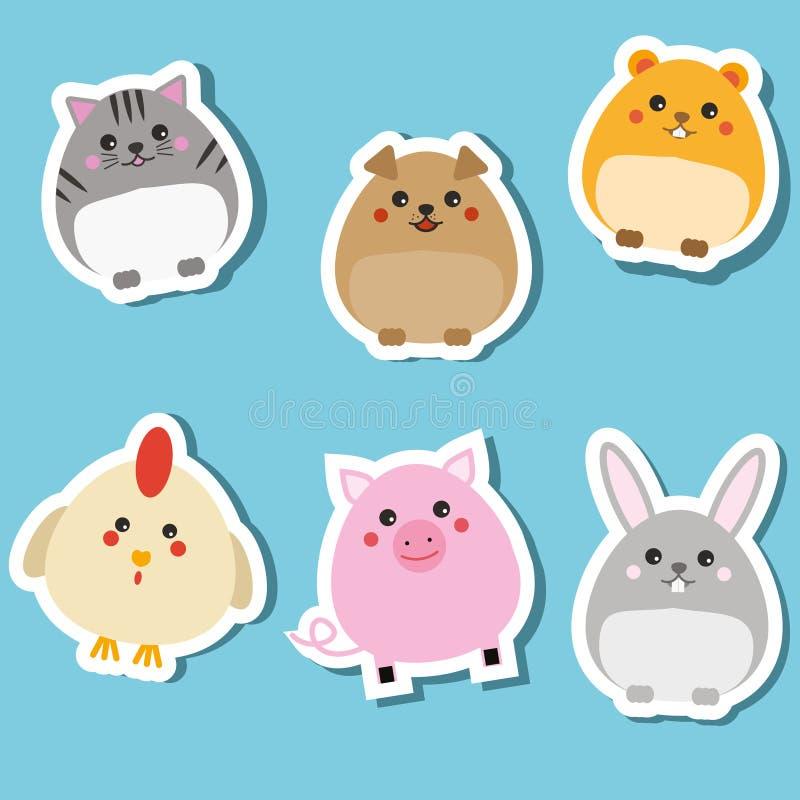Cute domestic animals. Stickers set. Vector illustration. Cat, rabbit, puppy, pig, hamster. Cute domestic animals. Stickers set. Children style, design elements stock illustration