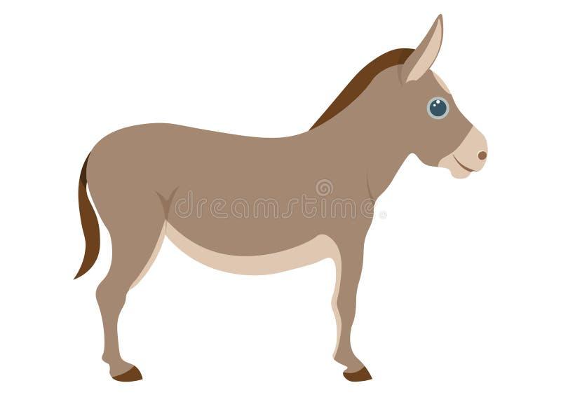 Cute donkey cartoon illustration. Donkey vector on white background stock illustration