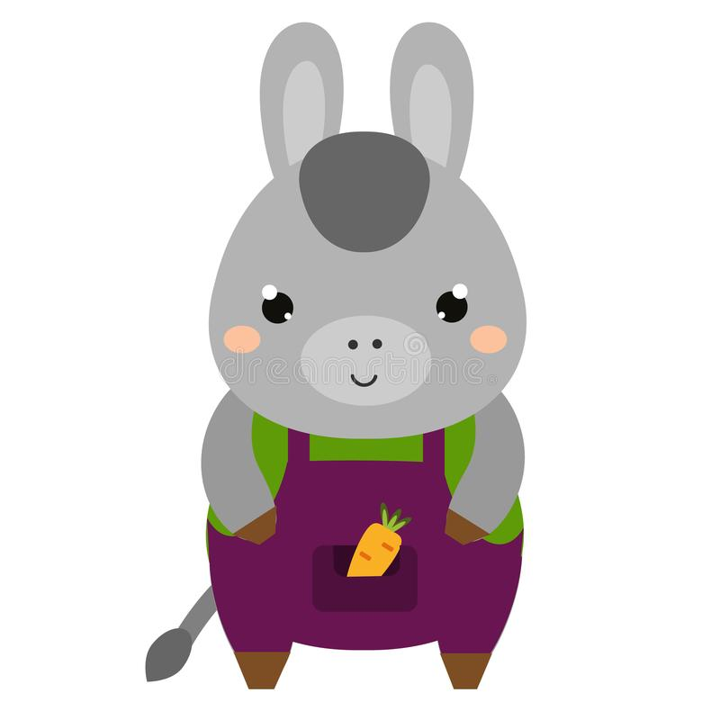 Cute donkey in jumpsuit. Cartoon kawaii animal character. Vector illustration for kids and babies fashion.  stock illustration